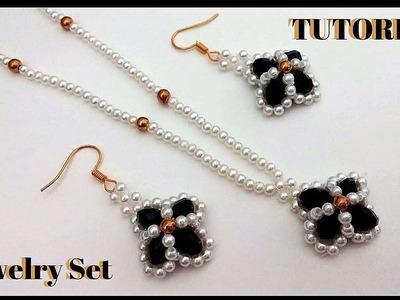 How to make CUTE beaded jewelry set .Beaded jewelry. beading tutorials