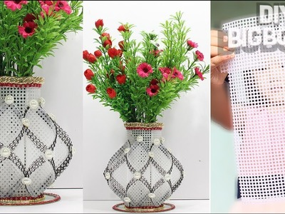 How to make Flower Vase with Plastic Canvas | New 2018 | DBB