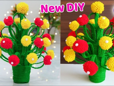 How to make Flower Vase with Wool | GULDASTA | Best DIY 2018 | Artkala