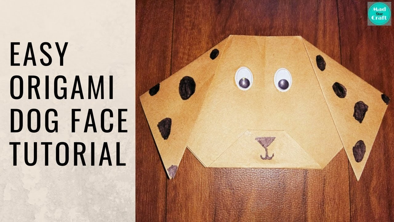 How to make Origami Dog Face   Origami for beginners   Crafts for kids