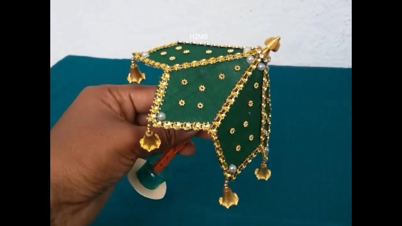 How To Make Simple Umbrella For Ganesh Chaturthi Diy Lord Ganesh