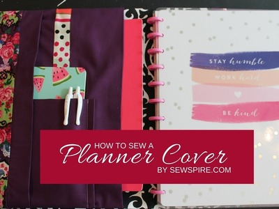 How to sew a planner organizer cover with elastic button tab closure