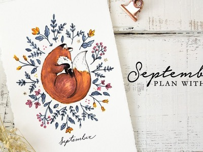Plan with me | September 2018 Bullet Journal Setup | Fox and Flowers