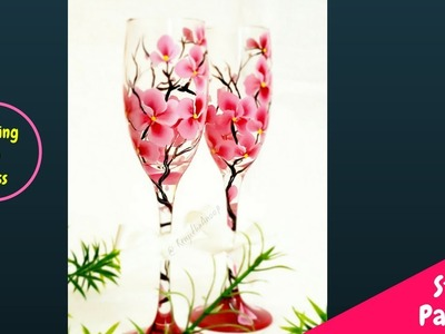 Quick and Easy Painting on Wine Glass | One stroke painting Flowers | Top Decoration Ideas