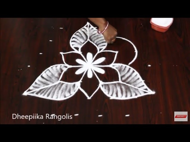 Simple Easy Flower Rangoli Design With 7x4 Dots Small Daily