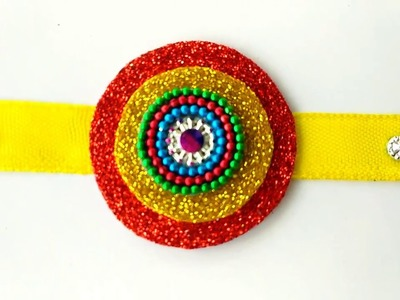 SIMPLE RAKHI MAKING AT HOME || BEAUTIFUL RAKHI CRAFT FOR RAKSHA BANDHAN ||