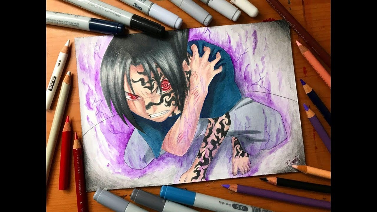 speed drawing sasuke uchiha curse mark naruto shippuden hd