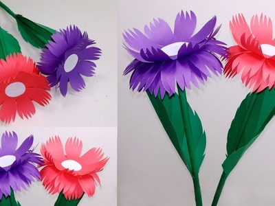 Stick Flower:How to Make Stick Flower with Paper|Making Flower Step by Step|Jarine's Crafty Creation