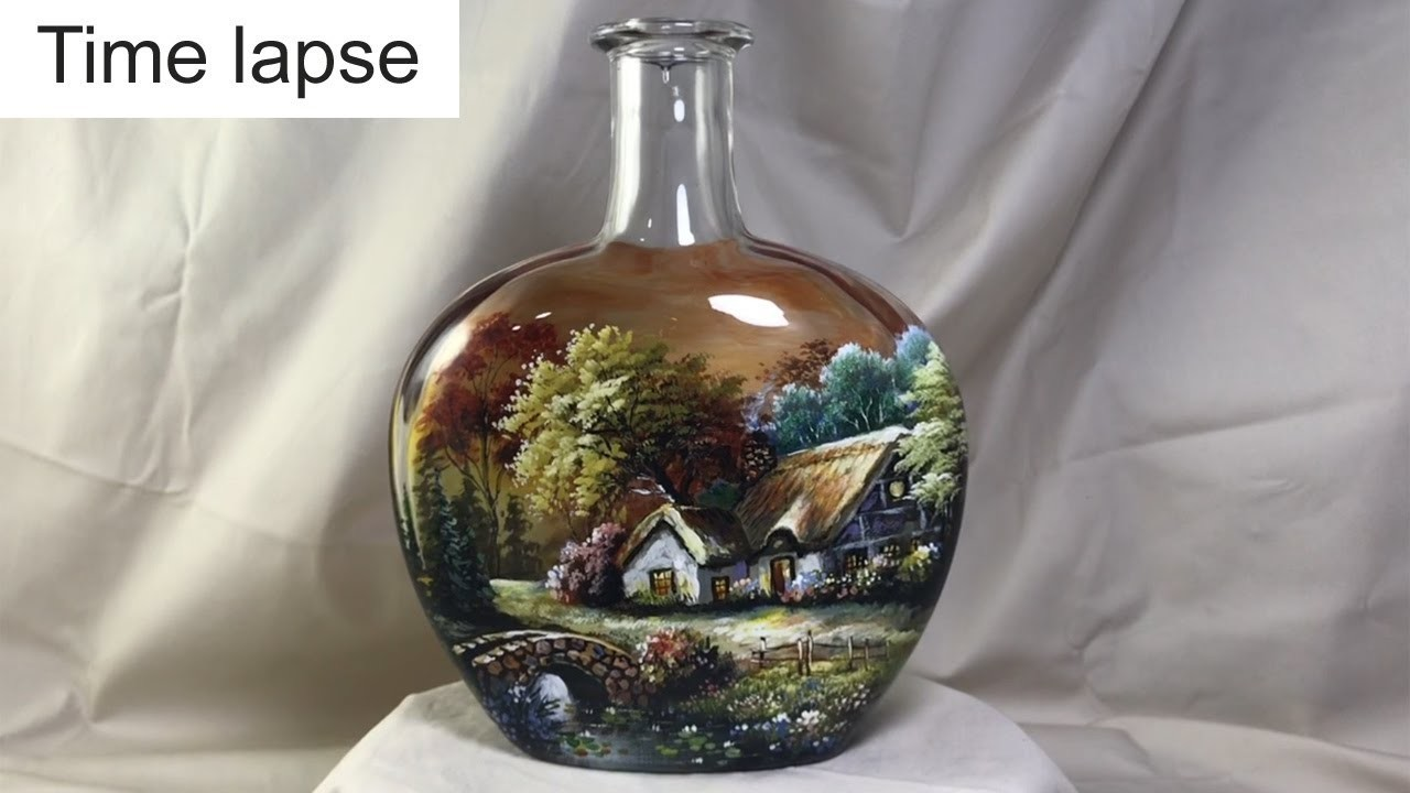 Timelapse version : DIY Painted Wine Bottles using Vitrail Pebeo