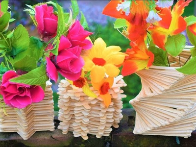 3 Different Flower Vase With Ice Cream Sticks | Amazing craft ideas | Best out of waste