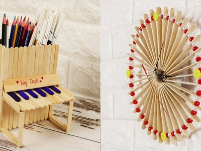 4 DIY Popsicle Stick Craft Compilation. Craft Ideas. Home Decor