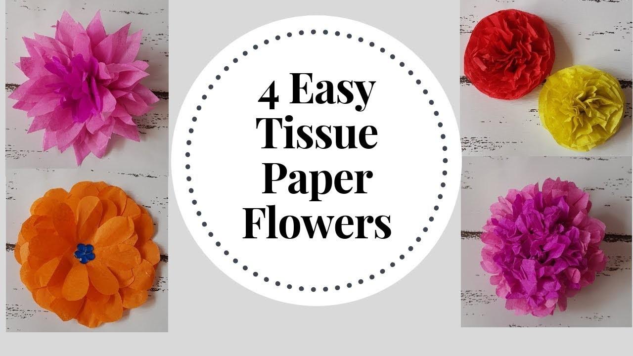 4 Easy to make Tissue Paper Flowers - DIY Tissue Paper Craft Idea | Tissue Flower Tutorial