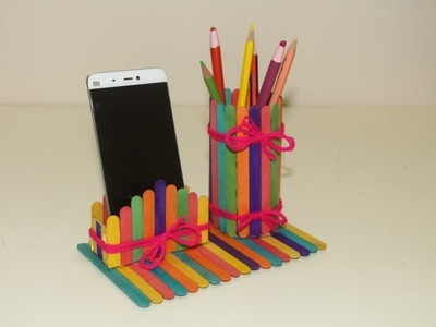 Art and craft idea with Pop sticks | Make Pen Stand & Card Holder
