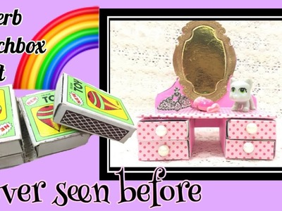 Awesome Matchbox craft.how to make barbie dressing table with waste.MISS CREATIVE