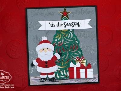 Die Cut Santa & Glitter Christmas Tree Card for Elizabeth Craft Designs