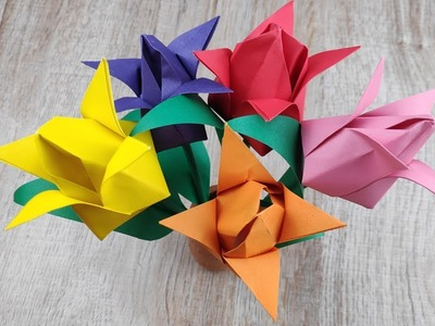 DIY 3D Paper Tulip Flowers Craft | How To Make Easy Flowers Paper Making Tutorial | Origami for Kids