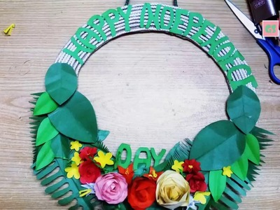 DIY Craft Paper Flowery Wreath : 14th August Special