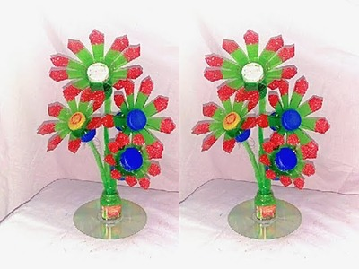 DIY Flowers Making with using plastic bottle. Plastic bottle craft idea