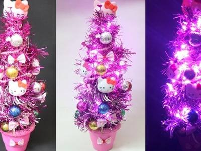 DIY Hello kitty Tree Lamp with Plastic Bottle. Waste Bottle Craft. How to make tree With bottle