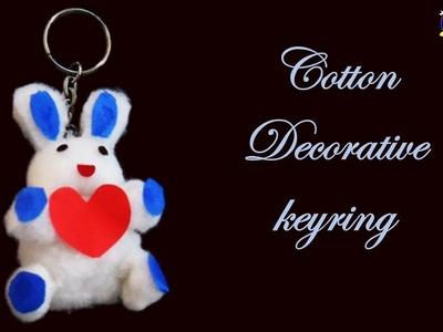 DIY How to make decorative cotton doll keyring || cotton craft idea || how to make keyring