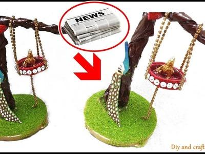 DIY- How to Make Krishna Jhula from Newspaper || Janmashtami Special Craft