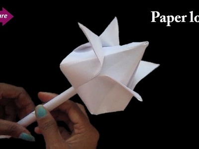 DIY how to make lotus flower with paper # paper flower * origami # craft care
