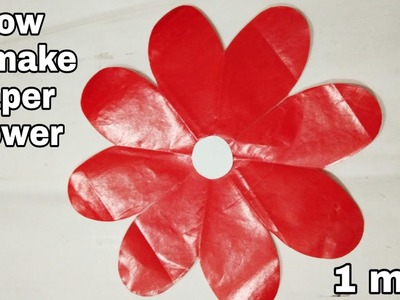 Diy. how to make simple & easy paper flower. paper cutting craft idea