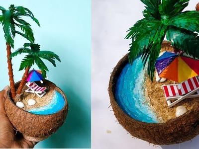 DIY Mini Beach in Coconut nut shell | Waste Materials Craft