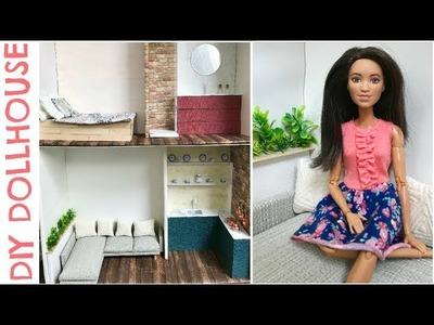 DIY miniature Dollhouse (easy craft) - bedroom, living room, kitchen, bathroom