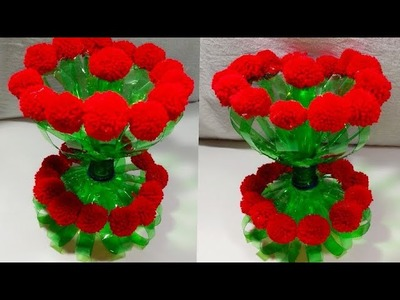 DIY NEW DESIGN WOOLEN GULDASTA.WASTE PLASTIC BOTTLE GULDASTA.NEW CRAFT.PLASTIC.FLOWER POT