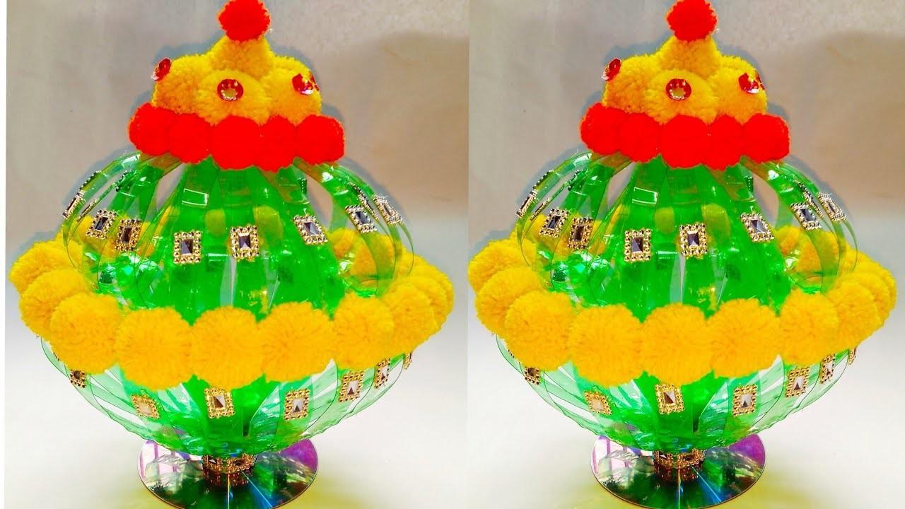 DIY NEW DESIGN WOOLEN GULDASTA.WASTE PLASTIC BOTTLE GULDASTA.NEW CRAFT.PLASTIC.FLOWER POT.GULDASTA