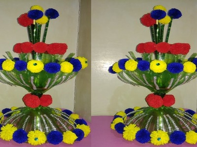 DIY.NEW DESIGN WOOLEN GULDASTA.PLASTIC BOTTLE FLOWER POT.GULDASTA.NEW CRAFT.FLOWER VASE 2018