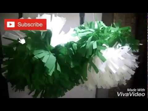DIY Paper Pom For Independence Day Decoration Ideas.Easy Independence Day Craft