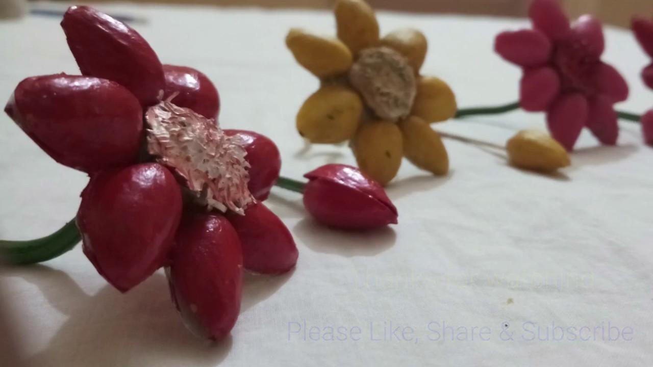 Diy Pista Flowers Recycling Craft Ideas Pista Shell Craft
