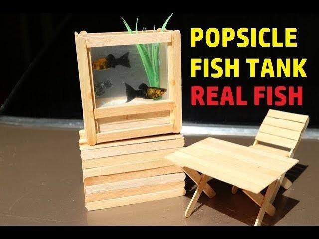 DIY Popsicle Real Fish Aquarium Craft. Creating Fish Tank Using Ice Cream Stick
