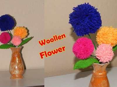 DIY Woolen Flower and Leaf Making || DIY with Wool || Best Craft Idea out of Waste Wool