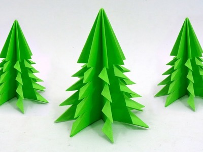 easy paper christmas tree diy origami 3d christmas craft - Easy Paper Christmas Decorations