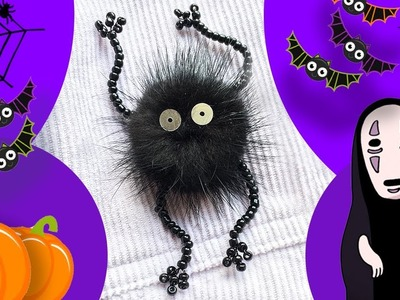 How To Make a Pom Pom Soot Sprite. DIY Halloween Kids Craft