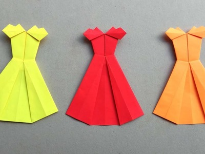How to make an Origami Paper Dress | Paper Folding Craft Tutorials