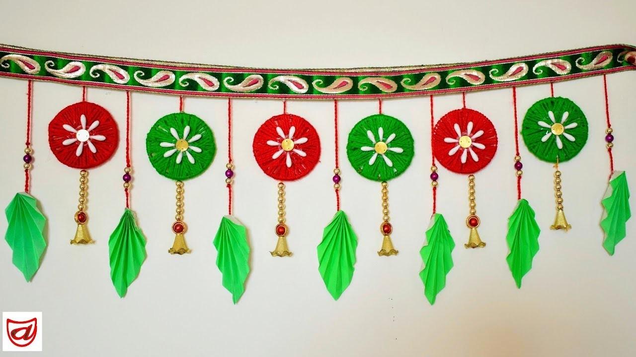 How to make Door hanging Toran from old bangles and wool | Front door decor craft ideas