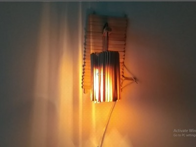 How to make ice cream stick lamp   Popsicle stick craft    Recycle Useful Handicraft lampshade