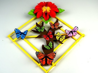 How to make Paper Flower Wall Hanging - Wall Hanging paper Craft butterfly - DIY Simple Home Decor
