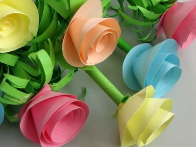 How To Make Paper Rose Flower 2 - DIY Handmade Craft - Paper Craft