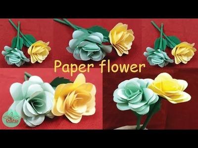How to Make Paper Rose Flower.DIY.Paper Craft.Handicraft.Disha Handwork Gallery#93