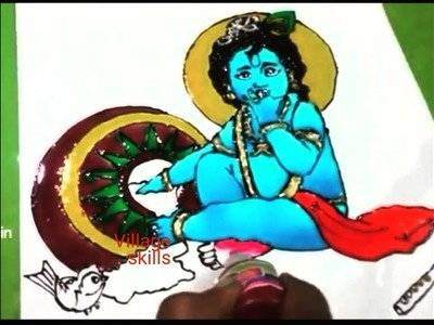 Krishnastami special , Lord krishna glass painting , homedecor,OHP sheets craft ideas,Glass painting