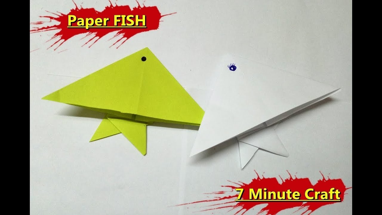 Make An Origami Cute Paper Fish For Kids Fish Paper Folding Craft Ideas