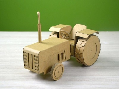 Making a realistic Tractor from cardboard | very easy craft - DIY