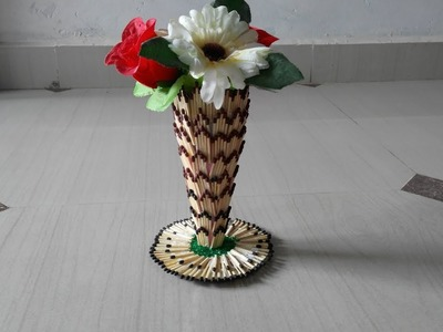 Matchstick art craft and idea   how to make matchstick flower pot. . .