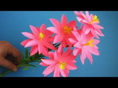 Paper Flower Stick. DIY . Paper Craft . Handcraft 21