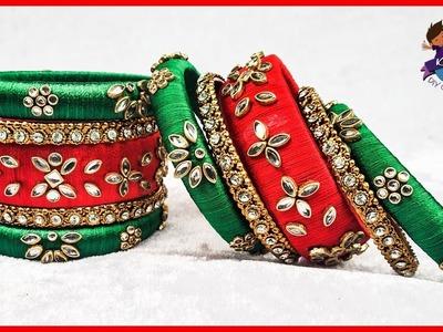Silk Thread Designer Kundan Bangle Making || #HowToMakeSilkThreadBangles || Kruthi DIY Craft Ideas